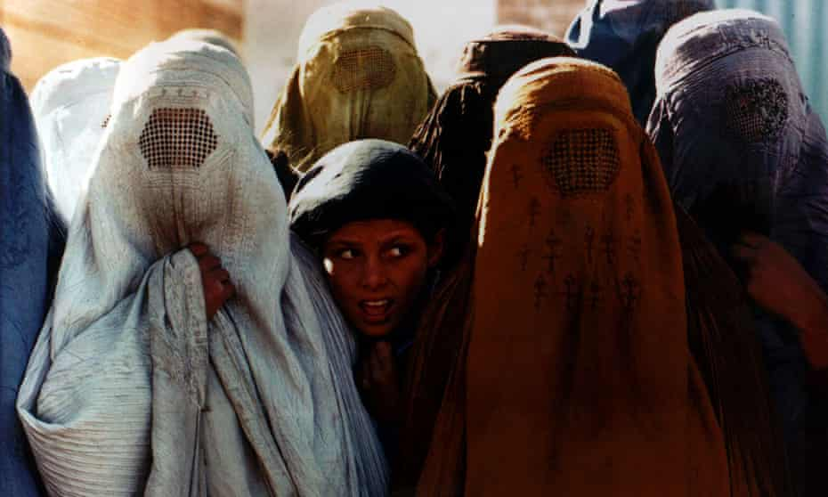 Girls and women at a Red Cross centre in Kabul, November 1996, when the Taliban controlled Afghanistan