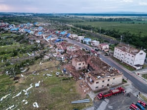 Hrusky, Czech Republic: The tornado left a trail of devastation, injuring more than 200 people.
