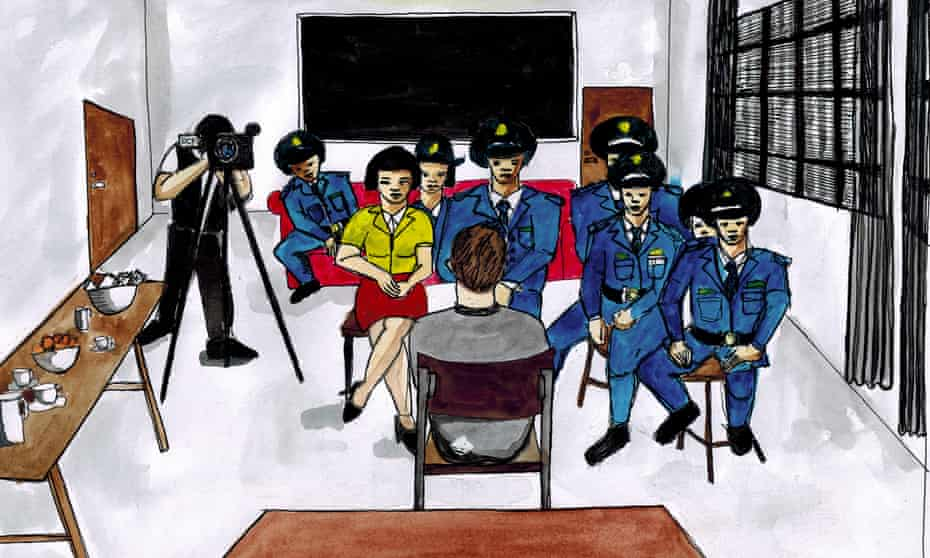 An image of Peter Dahlin's questioning at the hands of China's secret police as described to the Mexican-American artist Nicolas Luna Fleck