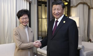 China's Xi Jinping met Hong Kong's chief executive, Carrie Lam, in Shanghai on Monday.