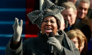 Aretha Franklin performing at the inauguration as president of Barack Obama in Washington, 2009.