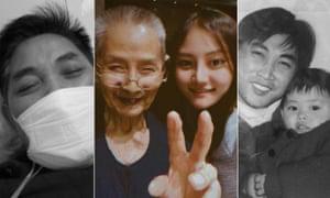 Liu Mengdi's father, Liu Daoyu, in hospital in Wuhan, Liu with her grandfather, Lei Ruting, and her father.