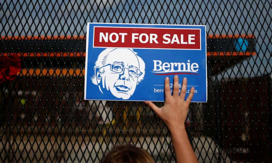 A Bernie Sanders supporter holds a placard in Philadelphia.