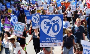 People march through London to mark the 70 years of the NHS