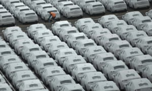 Parked cars destined for the UK at Zeebrugge, Belgium.