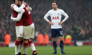 Christian Eriksen's face shows the disappointment after Tottenham lost the north London derby 2-0 at Arsenal on Saturday.