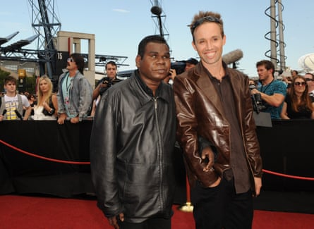 Geoffrey Gurrumul Yunipingu and Michael Hohnen (right) on the red carpet at the 2008 Aria awards in Sydney.
