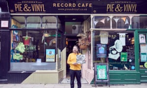 Steve Courtnell stands outside Pie & Vinyl.