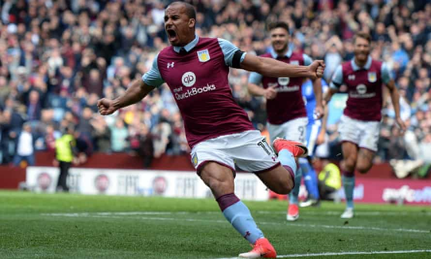Gabriel Agbonlahor celebrates scoring what proved to be Aston Vills's winner against Birmingham City in the Championship derby at Villa Park.