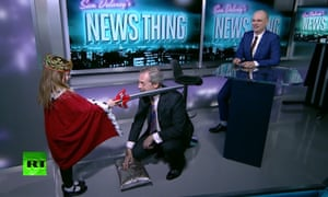 Former Ukip leader Nigel Farage is 'knighted' by a small girl dressed as the Queen