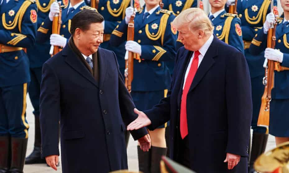 Presidents Xi Jinping and Donald Trump in Beijing in 2017.