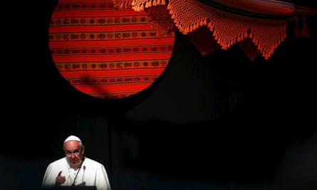 """Pope Francis makes his speech in Santa Cruz, Bolivia, where he called for the poor to have the """"sacred rights"""" of labor, lodging and land."""