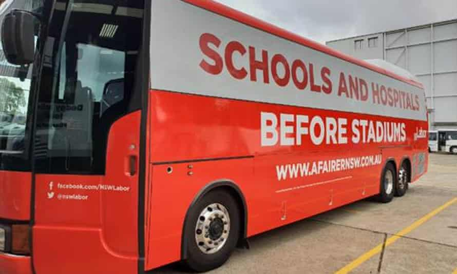 New South Wales Labor's bus for Luke Foley's tour of regional electorates.