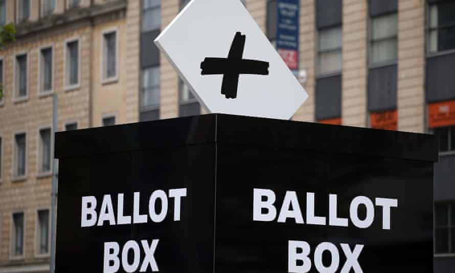 A mock ballot box to encourage people to vote in the Bristol mayoral election.