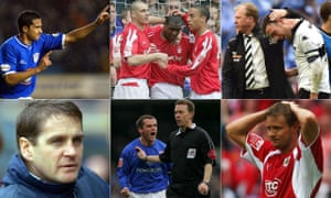Left to right: Tim Cahill, Wes Morgan, a dejected Richard Keogh, Barnsley's John Hendrie, a furious Jim Magilton and Bristol City's Lee Trundle.