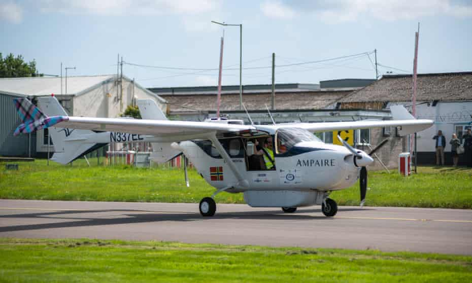 Test pilot Elliot Seguin at the controls for the debut flight of the hybrid Electric EEL from Exeter airport in Devon.