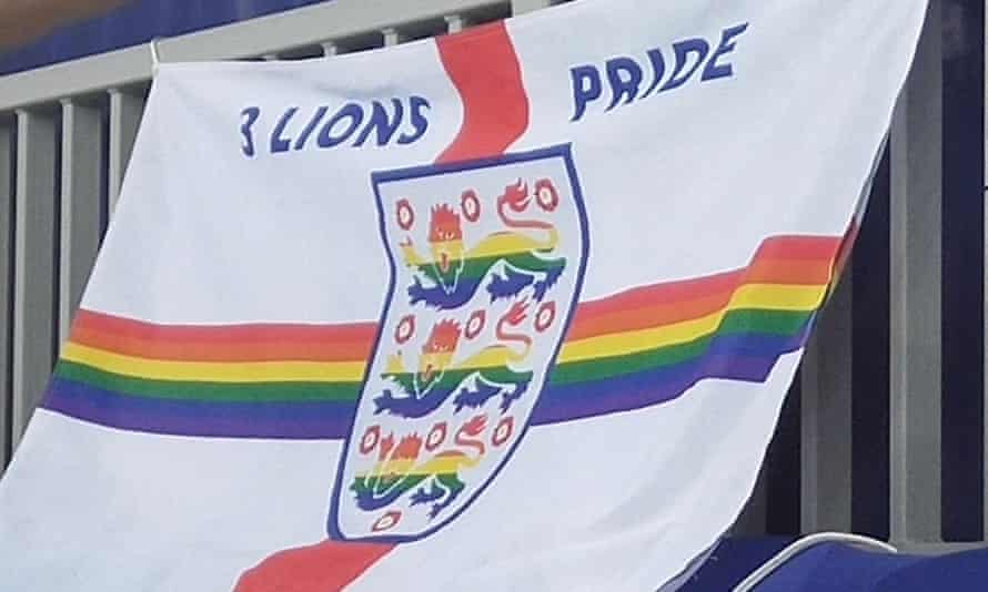 Three Lions Pride's flag flies proudly at England v Tunisia