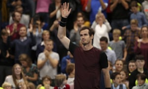 An emotional Andy Murray celebrates after beating Stan Wawrinka 3-6, 6-4, 6-4 to win the European Open final.