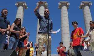 Pep Guardiola speaks at the Catalan independence rally.