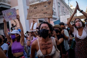 San Juan, Puerto RicoProtesting women shout slogans during a demonstration against sexual violence in front of the governor's mansion. The demonstrators denounce the inaction and slowness of the state in implementing the executive order declaring a state of emergency against gender-based violence