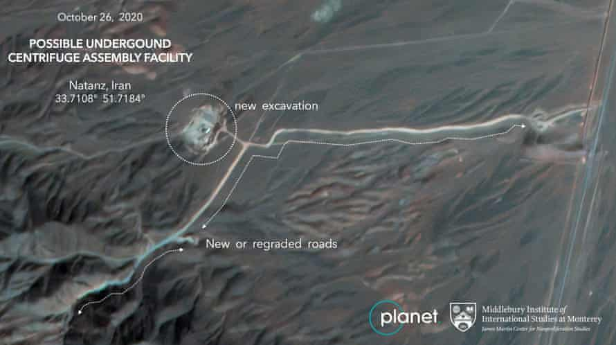 An annotated satellite image of construction at Iran's Natanz uranium enrichment facility