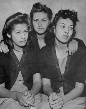 Alba Barrios, Frances Silva and Lorena Eucinas are pictured here in their prison-issue cardigan sweaters, dresses and perfectly coiffed hairdos. They were arrested in connection with a slaying at Sleepy Lagoon in Southeast Los Angeles in 1942