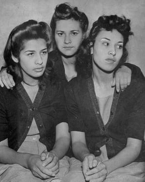 Alba Barrios, Francis Silva and Lorena Encinas, during the zoot-suit era.