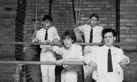 'A look that bore a debt to Roxy Music' ... (L-R) keyboard player Simon Brenner, drummer Lee Harris, singer Mark Hollis and bassist Paul Webb, pictured in 1982.