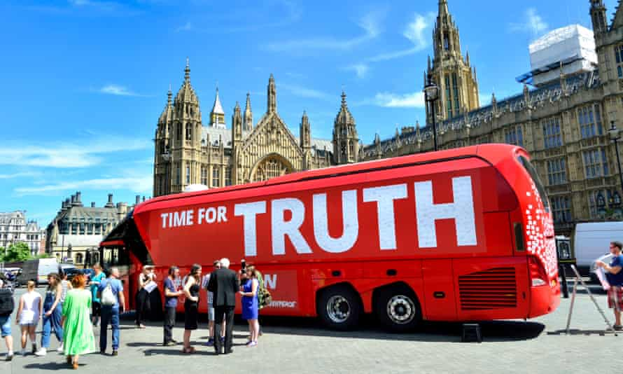 Time for Truth Greenpeace campaign bus outside the houses of parliament.