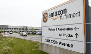 The Amazon fulfillment center in Kenosha, Wisconsin, on Friday. At least 20 employees have tested positive for the coronavirus in the last two months.