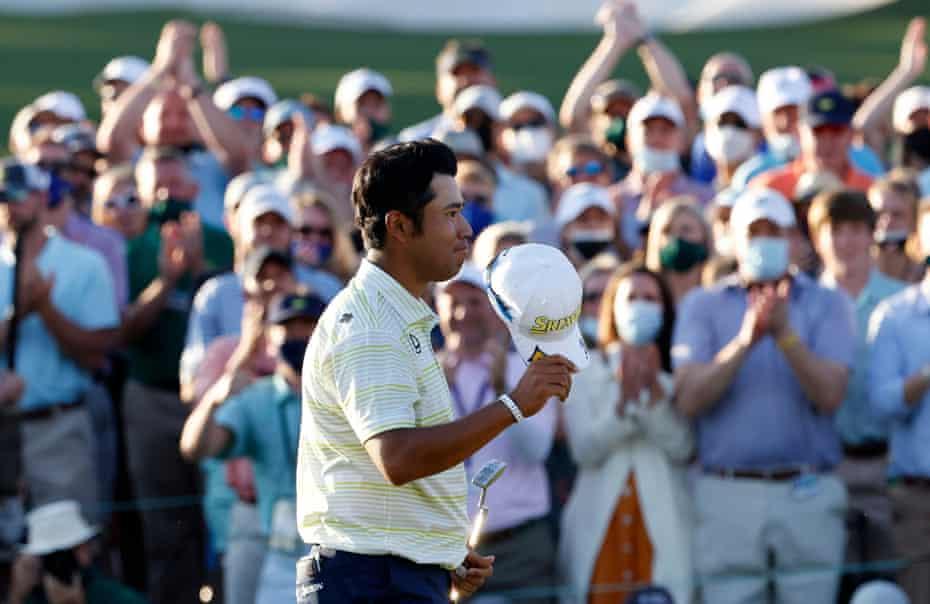 Hideki Matsuyama enjoys the acclaim from the crowd after winning the Masters.