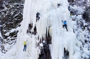 Vir, Czech RepublicPeople climb an artificial wall of ice in the village near the town of Bystrice nad Perstejnem