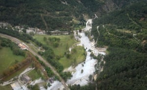 An aerial view of an Alpes-Maritimes valley after extensive flooding