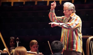 Sir Neville Marriner, conductor, during a rehearsal with the National Youth Orchestra of England at the Barbican Centre in 2007.