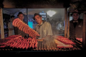 Sausages displayed at the Argentinian stall during the Festival de las Naciones world food festival held from late September to early November in Seville, Spain.
