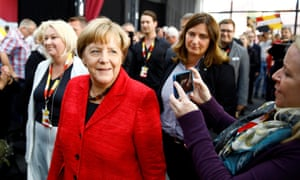 Angela Merkel campaigning in Wismar this week.