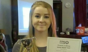 Hannah Bragg, who was a keen horse rider, with an East Cornwall Hunt Pony Club award.