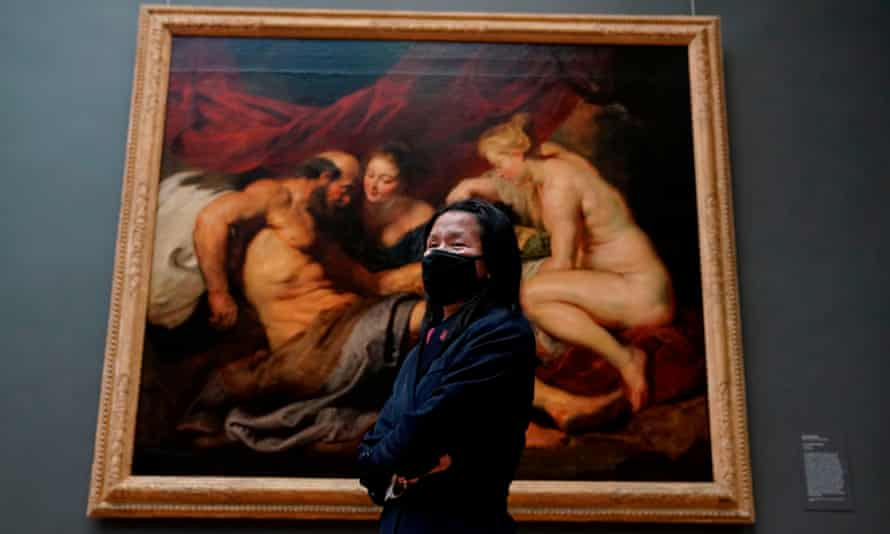 A visitor wearing a facemask at A New Look at Old Masters, a newly installed gallery for European Paintings, on 10 December 2020, at the Metropolitan Museum of Art, New York.