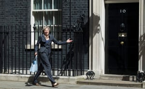 The home secretary takes a wrong turn when leaving No 10 after the last cabinet meeting hosted by David Cameron on 12 July 2016