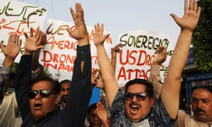 Civil society activists in Pakistan protest against a US drone strike last year