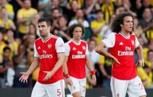 Arsenal's Sokratis Papastathopoulos, Matteo Guendouzi and David Luiz look dejected after conceding.