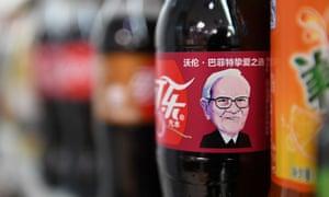 A Cherry Coke bottle featuring an image of US investor Warren Buffet.