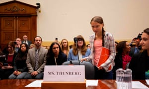 Greta Thunberg arrives for a joint hearing before the House Foreign Affairs Committee, Europe, Eurasia, Energy and the Environment Subcommittee, and the House Select Committee on the Climate Crisis, at the Rayburn House Office Building on Capitol Hill today