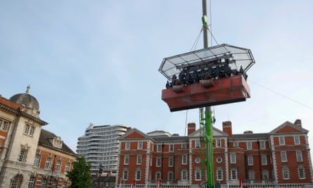 Gamers play Worlds Adrift while suspended above Chelsea College of Arts in a life-sized sky ship based on the game.