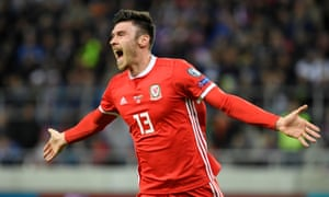 Kieffer Moore celebrates scoring to give Wales the lead but they were later pegged back by Slovakia.