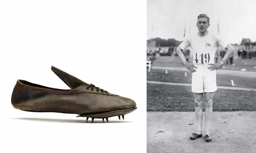 Harold Abrahams, who won the 100m at the 1924 Olympics, and his spikes.