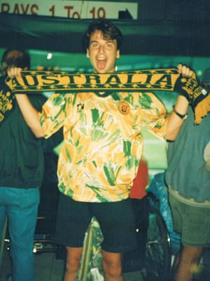 Andrew Howe supporting Australia against Colombia at the World Youth Cup, 1993.