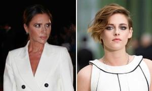 Signature scowls ... Victoria Beckham and Kristen Stewart.