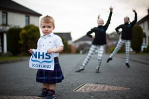 West Linton, UK: Archie Gibbs, Katie Perfect and Zennor Motley say thank you to NHS and healthcare workers