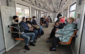 Passengers in face masks practise social distancing on a Kyiv Metro train, Kyiv, capital of Ukraine on 6 April, 2021. Only commuters who have special passes are allowed to use public transport from 5 April till 16 April to curb the spread of Covid-19.